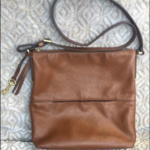 Fossil brown pebble leather crossbody